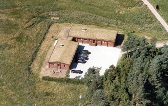 Overhead view of the 9 bedroom log cabin in Scotland