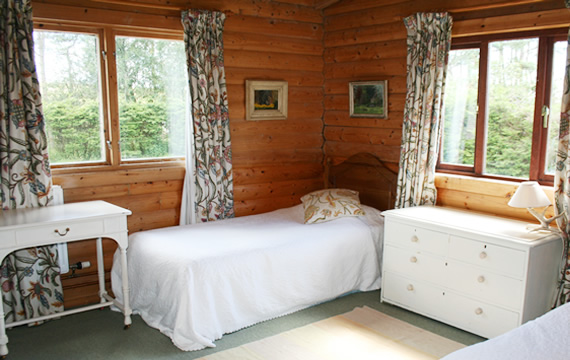 One of the twin rooms at The Log House